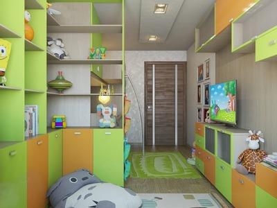 Зона хранения вещей в детской комнате для мальчиков