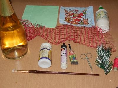 Инструменты и материалы для декупажа бутылок
