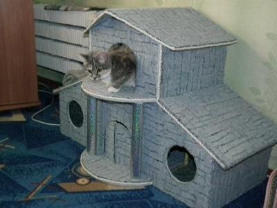 Двухэтажный домик для кошки своими руками