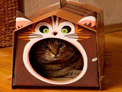 Картонный домик для кошки своими руками