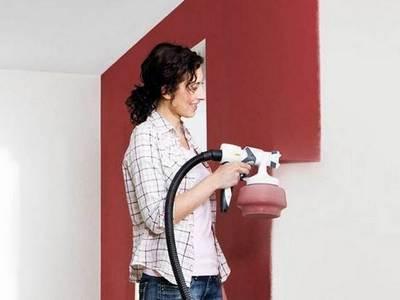 Покраска стен краскопультом