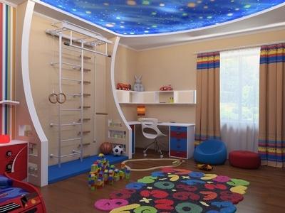Игровая зона в детской комнате для мальчиков