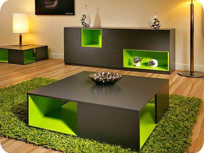 Сочетание зеленого, бежевого и черного в интерьере