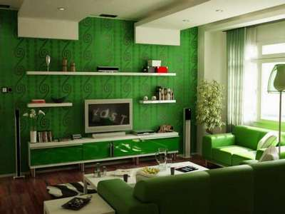 Зеленый в гостиной