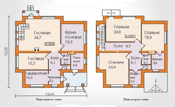 План дома из пеноблоков с мансардой