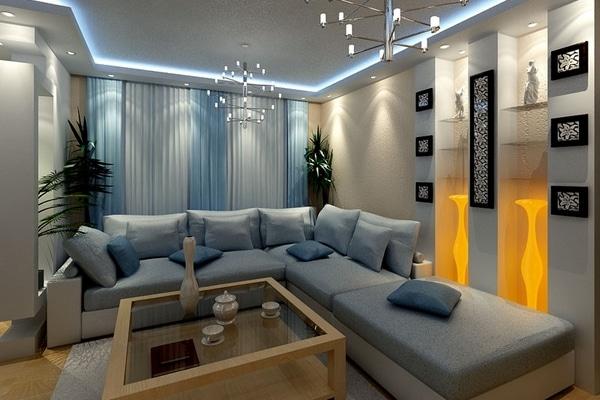 Интерьер большой гостиной в современном стиле