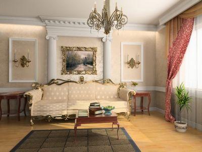 классический интерьер зала