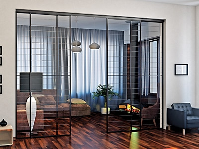 стеклянные раздвижные перегородки в квартире