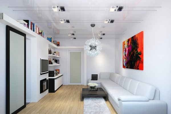 Интерьер белой гостиной в современном стиле
