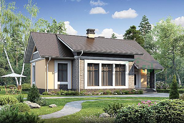 каркасный дом с большими окнами