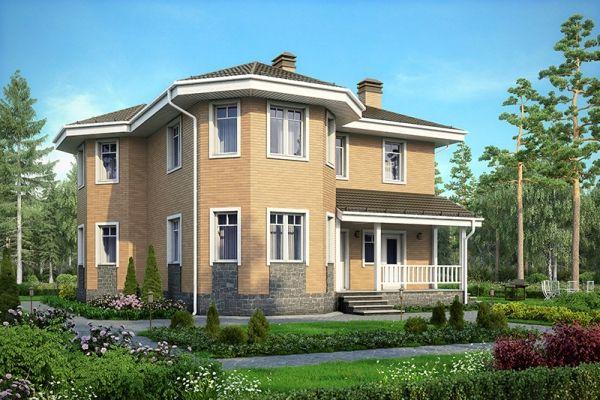 проекты домов из газобетона с эркером
