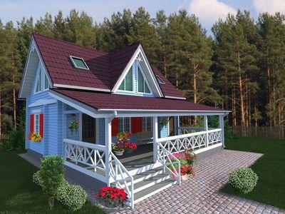 одноэтажный дачный дом с террасой